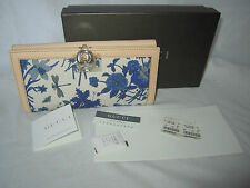 NWT 100% Authentic GUCCI Beige Blue Print Canvas Leather B-Fold Long Wallet COA