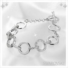 BRAND NEW AUTHENTIC SWAROVSKI CRYSTAL CLEAR CIRCLE BRACELET SILVER RHODIUM $219
