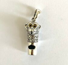 Victorian Style Monkey with Glass Eyes Whistle Pendant Silver 925