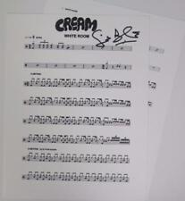 "Ginger Baker CREAM Signed Autograph ""White Room"" Drum Chart  Sheet Music"
