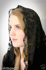 LOVELY Chapel Veil Mantilla Head Covering Latin Mass Black French Lace Triangle