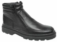 Mens Ankle Boots Leather Warm Lined Fleece Double Zip Winter Shoes Size