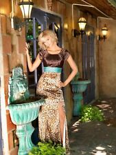 Modest Prom Dress BROWN/TURQUOISE 8 Animal Print -Full length-Short Sleeve