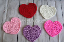 Handmade Crochet Heart Shaped Coaster / Decorations - Set of 5