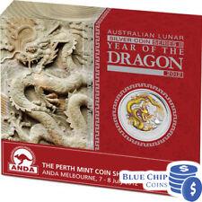2012 $1 Year of the Dragon 1oz Silver Coloured Coin Yellow Dragon ANDA No: 32