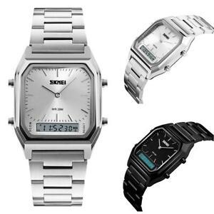 Skmei Mens Classic Retro Dual Time Digital Analogue Watch Alarm Metal Strap Date