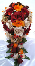 21 piece Bridal bouquets wedding bouquet package flowers BROWN BURGUNDY ORANGE