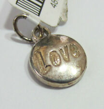 Genuine Sterling Silver 925 Charm Pendant - Love Disc Circle - NEW