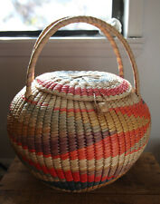 Vintage Round Straw Basket  w/ Lid Handmade Vibrant Colors 70s Southwest Retro