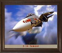F-14 Tomcat Military Jet Aircraft Aviation Brown Rust Framed Art Print Picture