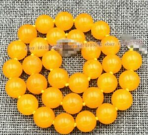 Exquiste charming elegant pretty new 10mm Yellow Topaz Round Beads Necklace 18''