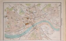 1897 VICTORIAN ANTIQUE MAP NEWCASTLE CITY PLAN STATION MARKET BARRACKS IRON WORK