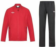 New Mens Umbro Full Tracksuit Jogging Bottoms Zip Jacket Track Top - RED BLACK