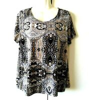 WOMEN;S EAST 5TH MULTICOLOR PAISLEY PRINT SHORT SLEEVE STRETCHY TOP SIZE XL
