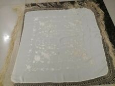 Antique Chinese Hand Embroidery Piano Shawl 102 X 102 Fringe 44 Cm