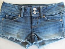 AMERICAN EAGLE Jr. Women's Sz 00 Frayed Edge Faded STRETCH Denim Jean Shorts EUC