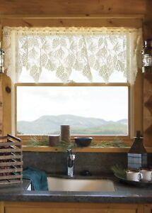 "Heritage Lace Woodland Pinecone Ecru/Cream Country Scalloped Valance 60""x 16"""