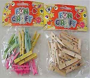 NEW 36 WOODEN CRAFT PEGS 5cm.COLOURED & NATURAL WOOD 2 PACKS HB L