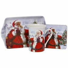 Macneil Santa Mug, Coaster and Tray Set Traditional Father Christmas Scene