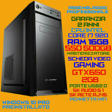 COMPUTER ASSEMBLATO PC FISSO INTEL i7-920 RAM 16GB SSD500GB DVDRW GTX650-2GB