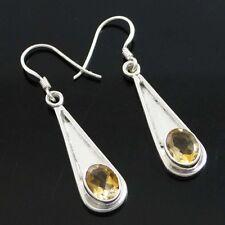 Citrine Stone 925 Sterling Silver Gemstone Earrings Dangle Set Jewelry India