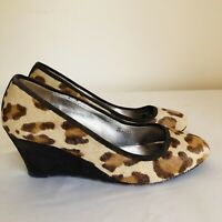 Boden Leopard Print Leather Pony Skin Wedge Heel Court Shoes Size 4/37 B17