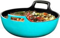 Enameled Cast Iron Balti Dish With Wide Loop Handles Cookware 3 Quart Turquoise
