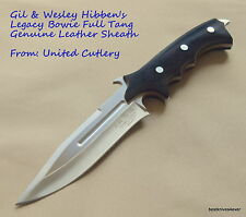 UNITED CUTLERY GIL & WES HIBBEN LEGACY BOWIE HUNTING KNIFE WITH LEATHER SHEATH