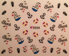 Nail Art 3D Decal Stickers Beach Sail Boat Anchor Raft Flip Flops K029