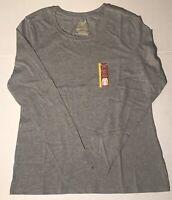 NWT- Women's Faded Glory Long Sleeve Crew-Neck Grey Shirt -Size- S(4-6)