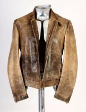 Roberto Cavalli Washed Out Effect Brown Leather Jacket EU48 Medium RRP £895 coat