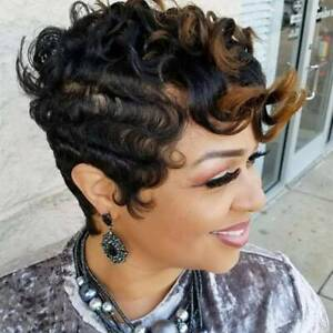 Womens Short Wig Ombre Black African Curly Wavy Straight Hair Full Wigs Daily