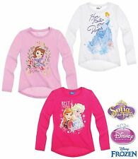 Girls Disney Frozen Princess Sofia The First Long Sleeve Character Top T- Shirt Cinderella - White 2 Years