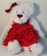 """O.P.I Plush Fluffy White Teddy Bear w/ Red Ruffled Dress, 9"""""""