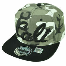 California Cali Bear Republic Hat Cap Snapback Flat Bill Camouflage Camo Gray