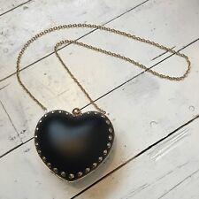 Dune Black leather heart gold stud clutch bag Kitsch Kawaii Alternative Goth