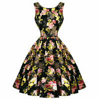 Hearts and Roses London Black Yellow Cameo Floral 1950s Retro Vintage Dress