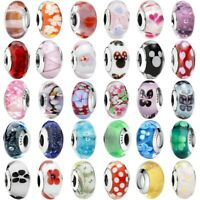 925 Sterling Murano Silver Charms Glass Bead For European Bracelet Chain