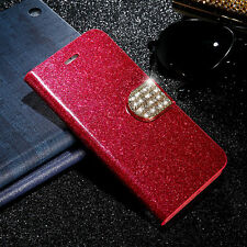 Bling Diamond Leather Flip Magnetic Wallet Case Stand Cover For iPhone Samsung
