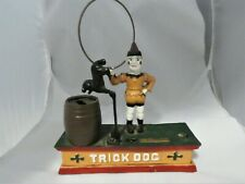 "VINTAGE CAST IRON MECHANICAL COIN BANK TRICK DOG CIRCUS CLOWN  ""AS-IS"""