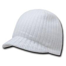 WHITE SOLID CAMPUS VISOR BEANIE JEEP CAP CAPS HAT HATS