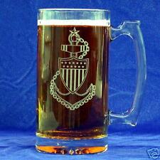 US Coast Guard CPO Emblem Etched 25oz Sports Beer Mug