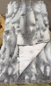 "42"" x 22"" Real Rabbit FUR Throw Blanket Patchwork Skin Fur Rug Pelz Leather Pelt"