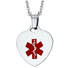 Personalised Medical Women's Stainless Steel Heart Tag Medical Alert ID Necklace