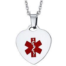 Personalised medico Donna in Acciaio Inox Cuore Tag Collana ID Braccialetto medico