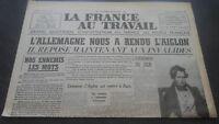 JOURNAUX LA FRANCE AU TRAVAIL N°169 DIMANCHE 15 DECEMBRE 1910 ABE