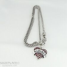NEW MARINE RED CRYSTAL HEART CHARM SILVER NECKLACE MILITARY HEART CLASP