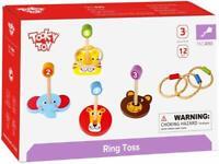 Tooky Toys Anillo Lanzar 12 Pieza Animal Caras Madera Playset de Juguete