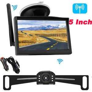 "Built in Wireless Backup Camera 6 Led Reversing Car Monitor 5"" Screen Rear View"