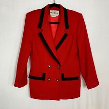 Women's Oleg Cassini Petite 100% Wool Blazer sz 6 black red warm cozy